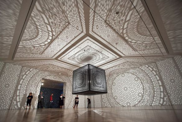"Anila Quayyum Agha's ""Intersections"" as part of an ArtPrize 2014 media preview at the Grand Rapids Art Museum Monday, Sept. 15, 2014. The GRAM will be showcasing 19 ArtPrize artists. (Cory Morse 
