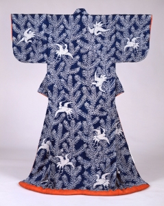 Kosode Kimono with young pine trees and flying cranes