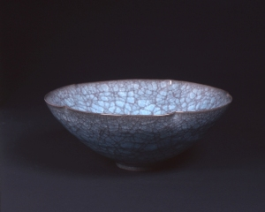 Large crazed celadon bowl by Shimizu Uichi