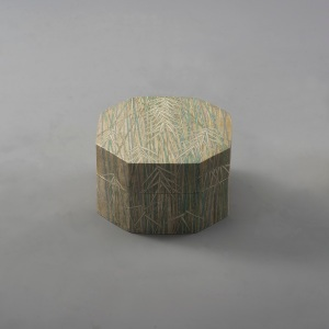 "Gold and Silver Octagonal Ceramic Box ""Bamboo Accent"" by Ado Oda"