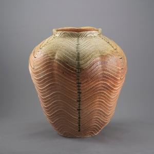 Shigaraki Rippled Large Jar by Yucho Kobayashi