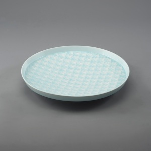 Pale-blue Glazed Geometric Patterned Platter by Atsuko Kubota