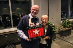 Our Volunteer Director Tom Hoving with the winner of the Behind the Scenes Award, Fran Damskey